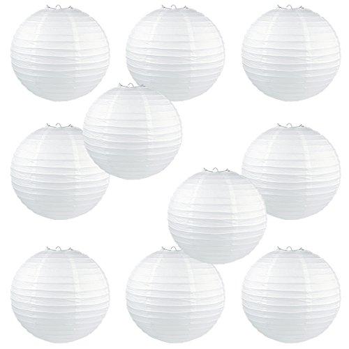 WYZworks Round Paper Lanterns 10 Pack (White, 8