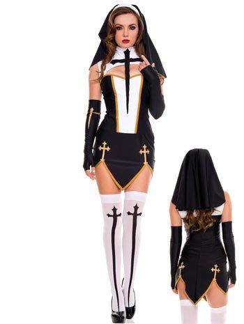Mengjie Halloween Kostüm Party Spiel Rollenspiele Nonnen Uniform, schwarz, schwarz, schwarz, f 5f70c0