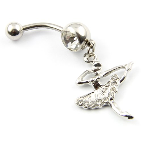 316l Surgical Steel 14g Clear Rhinestone Fairy Ballet Dancer Navel Ring Belly Body Piercing
