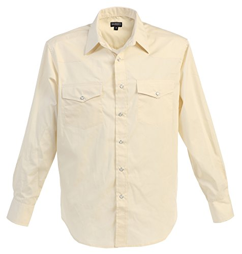 Gioberti Mens Casual Western Solid Long Sleeve Shirt With Pearl Snaps, Ivory, 5X Large (Shirt Dress Western)