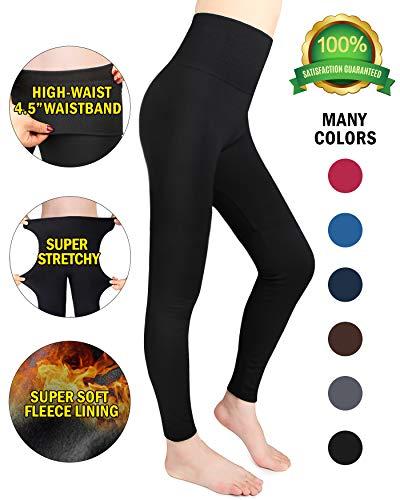 Moon Wood Fleece Lined Leggings Women High Waist Elastic Slimming Seamless Warm Winter Leggings Black