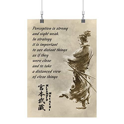 Royal Decor Collection Miyamoto - Musashi - Perception is Strong and Sight Weak Poster Print Wall Art (Musashi Best Miyamoto Sword)