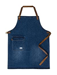 USKEES CHORLTON Denim Bib Apron - Stonewash chef waiter barista leather straps