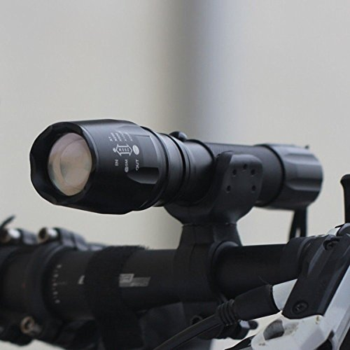 1 Pc Best Popular LED 5000 Lumen 5-Modes Alumiun Alloy Flashlight Zoomable Self Safety Climbing Camping Hunting Light with Holder and Battery (Combo Lite Combination Clamp)