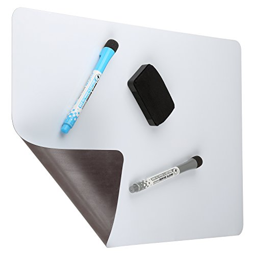 "Magnetic Dry Erase White Board For Kitchen Fridge with Stain Resistant Technology 17x11"" - Includes 2 Markers and Big Eraser with Magnets - Perfect Message Note and Meal Planner Sheet for Families"