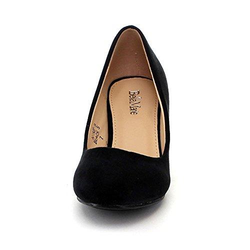 Bella Marie Dames Negen-9 Comfortabele Basic Slip-on Pomp Feestjurk Kity Hak Schoen Zwart