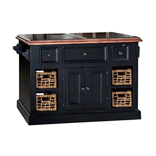 Hillsdale Tuscan Retreat Large Granite Top Kitchen Island in Black