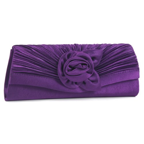 Damara Women's Satin Pleated Flower Front Evening Bag Clutch Handbag,Purple