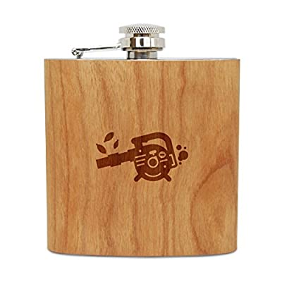 Leaf Blower 6 Oz Wooden Flask (Cherry), Stainless Steel Body, Handmade In Usa