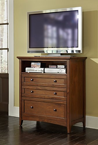 A-America Westlake Media Chest, Cherry Brown Finish Wide Media Chest