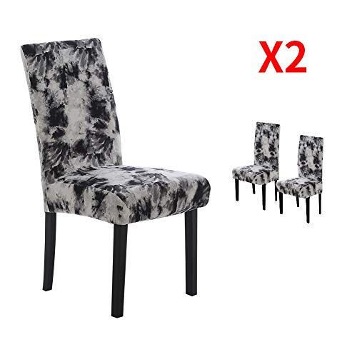 YIMEIS Stretch Dining Room Chair Covers, Graffiti Printed Dining Chair Protector, Removable Washable Short Chair Seat Covers for Dining Chair, Kitchen, Office, Party (Pack of 2, T_Black)