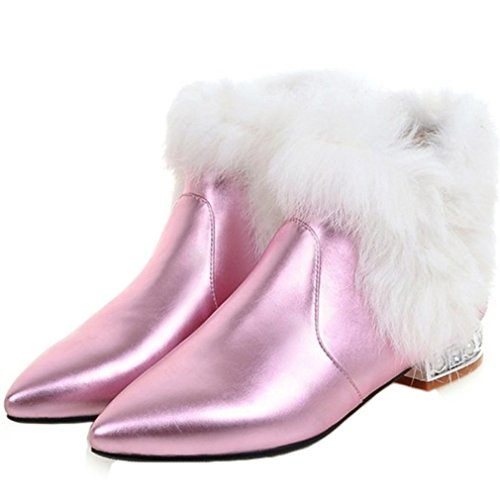 ENMAYER Damen Pleuche Material Keil Blockabsatz Spitzschuh Slip auf Ankel Stiefel Rosa3