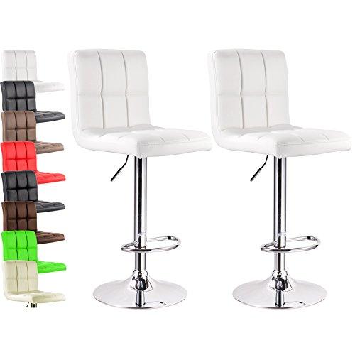 WOLTU Furniture Bar Stool Swivel White Bonded Leather Adjustable Hydraulic Barstools Work Stools Kitchen Stools, Set of 2