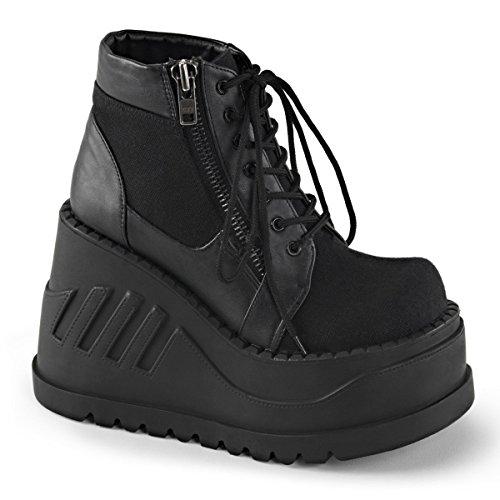 Demonia Stomp-10 Womens Boot Blk Canvas-vegan Leather