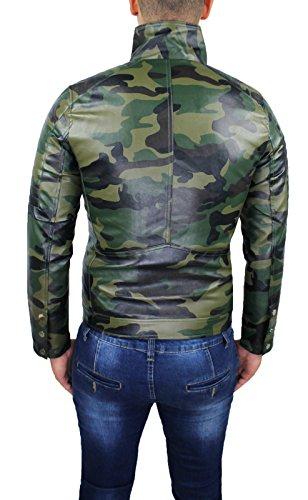 Sans Veste Manche Collezioni Ak Manteau En Militaire Homme Cuir Vert ERT1wqH