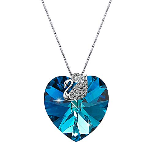 - Kigmay Jewelry 925 Sterling Silver Blue Swarovski Crystal Bermuda Heart Dainty Pendant Necklace with CZ Swan and Cubic Zirconia Solitaire Bail Loop ❤ Unique Design for Her, 16