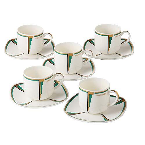 Minoyaki Espresso and Saucer Set of 5 with Geometric Art Deco Design Made in Japan