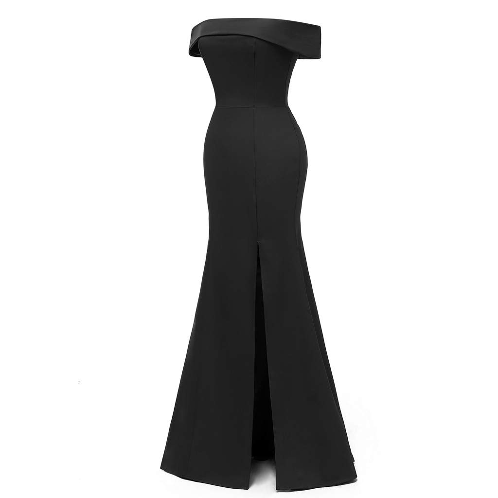 Long Maxi Dresses for Women Solid Off Shoulder Bodycon Split Evening Party Long Dress (Black,M)