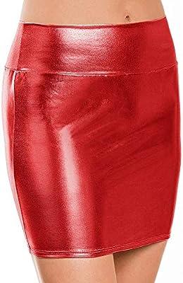 HEHEAB Falda,Las Mujeres Falda De Cuero Rojo Mini Falda para Las ...