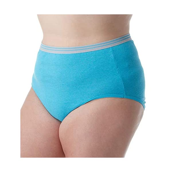 Fruit of the Loom Plus Size Fit for Me Women's Heather Briefs, 6 Pack