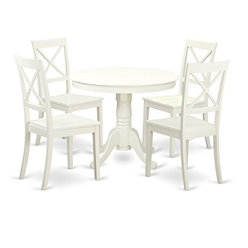 East West Furniture ANBO5-LWH-W 5 PC Set with One Table & Four Wood Seat Dinette Chairs Having A Beautiful Linen White (Round Dinette)