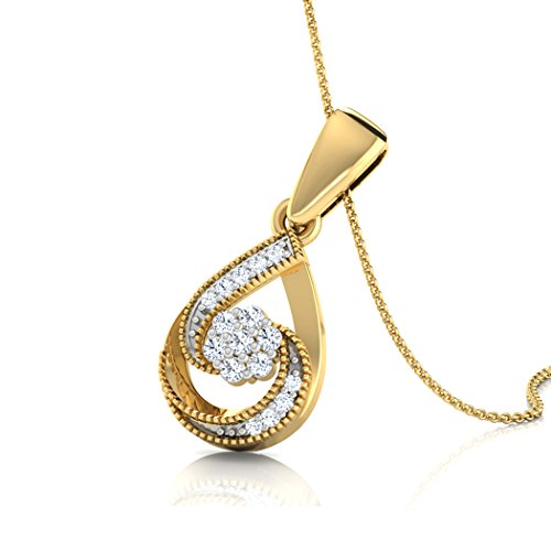 Or blanc 14K 0,1ct tw Round-cut-diamond (IJ | SI) Pendentif