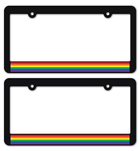 Custom Car Gear Gay Pride License Plate Frames LGBTQ+ Rainbow Flag Sticker Decal on Matte Black Frames Brackets (1-Pair/Set of 2)