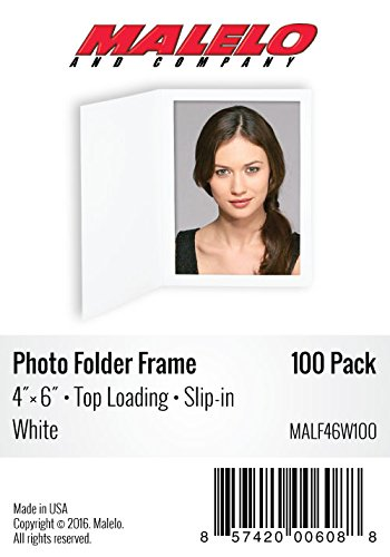 Cardboard Photo Folder Frame 4x6 - Pack of 100 - White by MALELO AND COMPANY