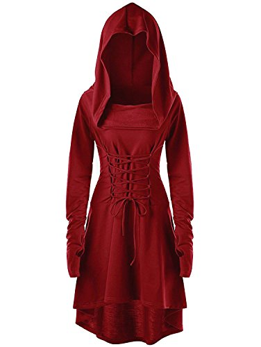 Gemijack Womens Renaissance Costumes Hooded Robe Lace Up Vintage Pullover High Low Long Hoodie Dress Cloak (Large, -