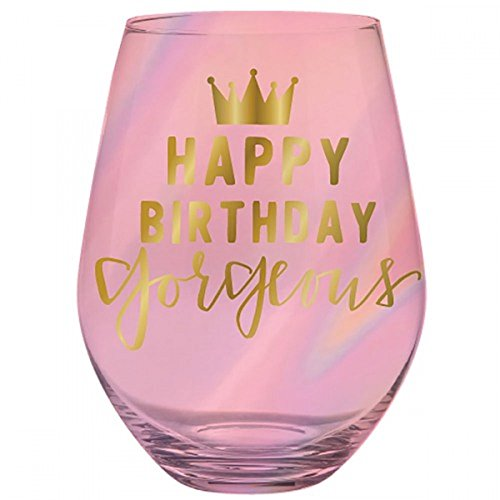 30oz Jumbo Stemless Pink Wine Glass -Happy Birthday Gorgeous. -