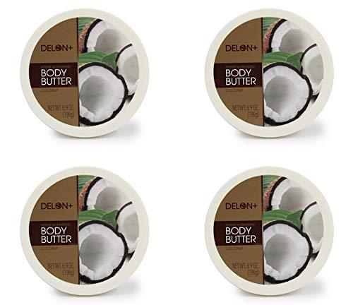 DELON Intense Moisturizing Coconut Body Butter 6.9 Oz (4-pack)