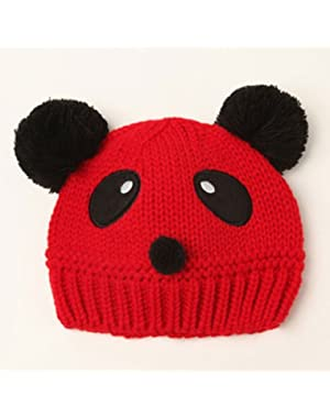 2 Pcs Cute Winter Warm Panda Shape Knitted Hat for Baby(Red)
