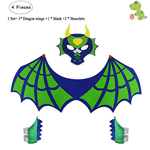 Toddlers Kids Dragon Wings Costume for Boys Girls with Mask Bracelets-Dinosaur Pretend Play Party Supplies (#1 Green Dragon Wings and mask with Bracelets)