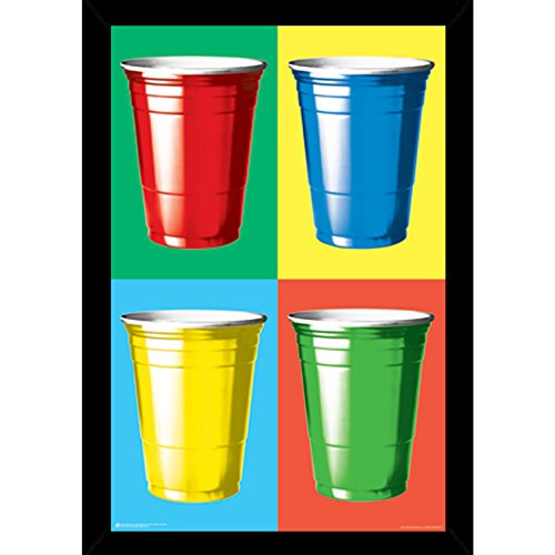 Party Cups Colors Poster (24x36) with Traditional Black Frame