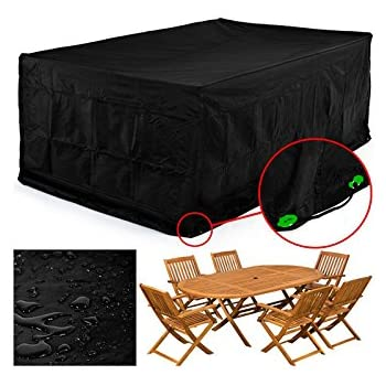 FEMOR Rectangular Patio Furniture Cover Table And Chair Set Cover Waterproof  For Outdoor Garden Furniture Care