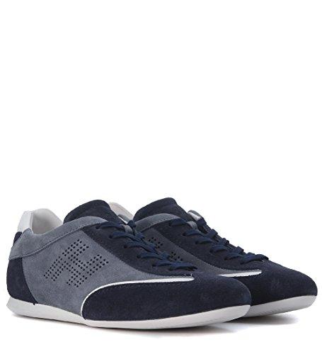 Sneaker Hogan Olympia en suede azul con H lateral perforada Azul