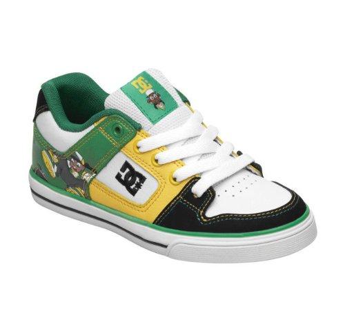 DC Kids Pure WG Skate Sneaker (Little Kid) (Little Kid),Black/White/Emerald,1 M US Little Kid
