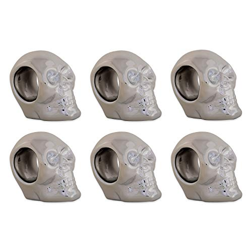 DII Silver Skull Ceramic Napkin Rings for Themed Parties, Decoration for Halloween, 3.25