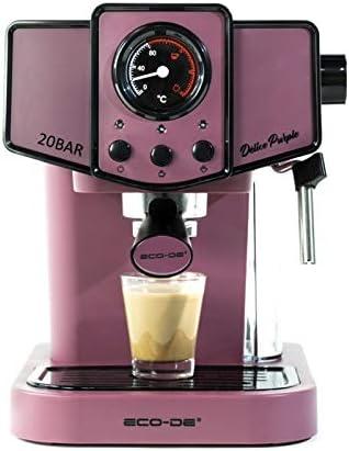 ECODE Cafetera Espresso Delice Purple, 20 Bares de Presión, Vaporizador Orientable, Depósito de 1.5 litros, Mono/Doble dosis, Manómetro con Temperatura: Amazon.es: Hogar