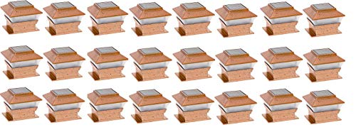 RELIGHTABLE Solar Square Outdoor Post Cap Deck Lights for 4x4 (Copper) (24-Pack)