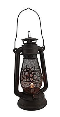 Metal Outdoor Tabletop Lanterns 32964 Rustic Nautical Wheel Vintage Style Hurricane Lantern Lamp 13 Inch 6.5 X 13 X 6.5 Inches Brown