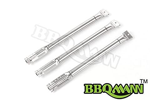 BBQMANN BF641 (3-pack) Replacement Stainless Steel Pipe Burner for Char Broil, Charmglow, Jenn Air, Kenmore Sears, K Mart, Member's Mark, Nexgrill, Perfect (Charmglow Sear Burner)