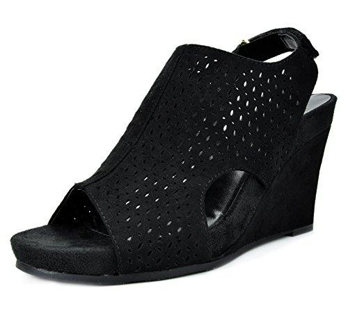 TOETOS Women's Solsoft-6 Black Mid Heel Platform Wedges Sandals - 9 M -