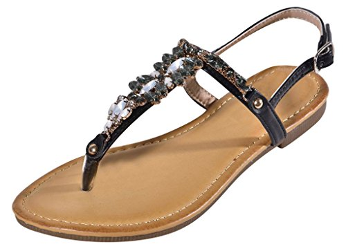 Top Cute Bejeweled Black Sandals for Women Faux Leather Floral Jewels Open Toe Flip Flop Tstrap Designer Casual Fun Sexy Stylish Princess Dress Summer Slipper for Sale Ladies Teen Girl (Size 7, Black) by TravelNut