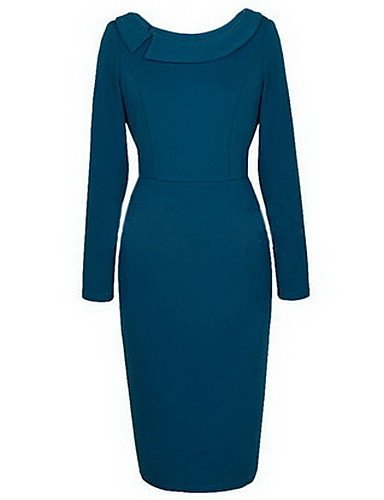 PU&PU Robe Aux femmes Moulante Simple,Couleur Pleine Col Arrondi Midi Polyester , blue-m , blue-m