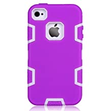 iPhone 4S Case, iPhone 4 Case,LUOLNH Luxury High Impact Triple Layer Hybrid Durable Shockproof Combo Case Cover for Apple IPhone 4/4S (Purple+Grey)
