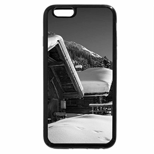 iPhone 6S Plus Case, iPhone 6 Plus Case (Black & White) - Ski chalets
