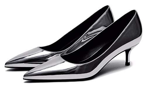Silver Bout Camssoo Pu Soft Femme Pointu 1F6qB