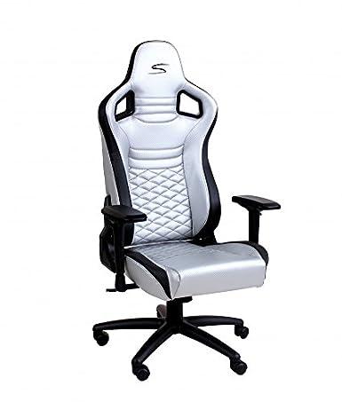 Speedmaster Chair plata - Fibra óptica de carbono - Silla de juegos - Oficina - Silla de oficina: Amazon.es: Videojuegos