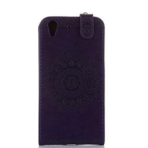 Funda Huawei Y6 II, 5.0 pulgadas, Cáscara Alfort 2 en 1 Caso Protector de Cuero Retro Moda PU Repujado Datura Cover con Soporte Plegable y Ranura de Tarjeta + Toque Pluma ( Azul ) Púrpura